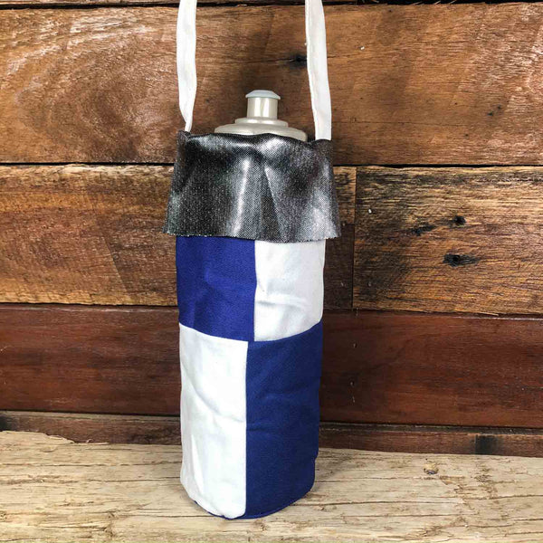 Water Bottle Tote - Blue & White