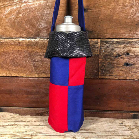 Water Bottle Tote - Blue & Red