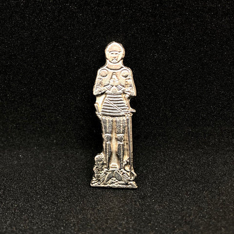 Medieval Knight Brass Rubbing Pin