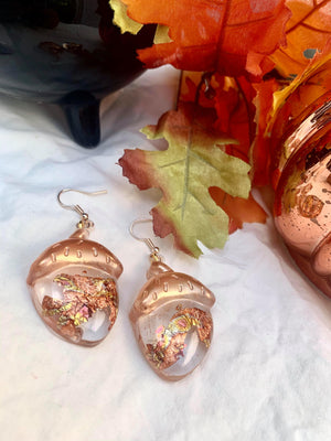 Red Gold Leaf Acorn Earrings