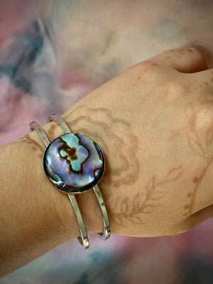 """Let It Happen"" Abalone Cuff Bracelet"