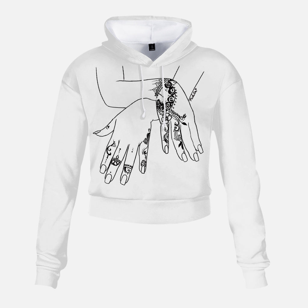 Henna Hands High Rise Cropped Hoodie