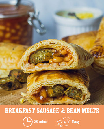 Breakfast Sausage and Bean Melts
