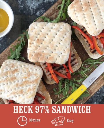 97% Pork Sandwich with Grilled Peppers, Mustard & Rocket
