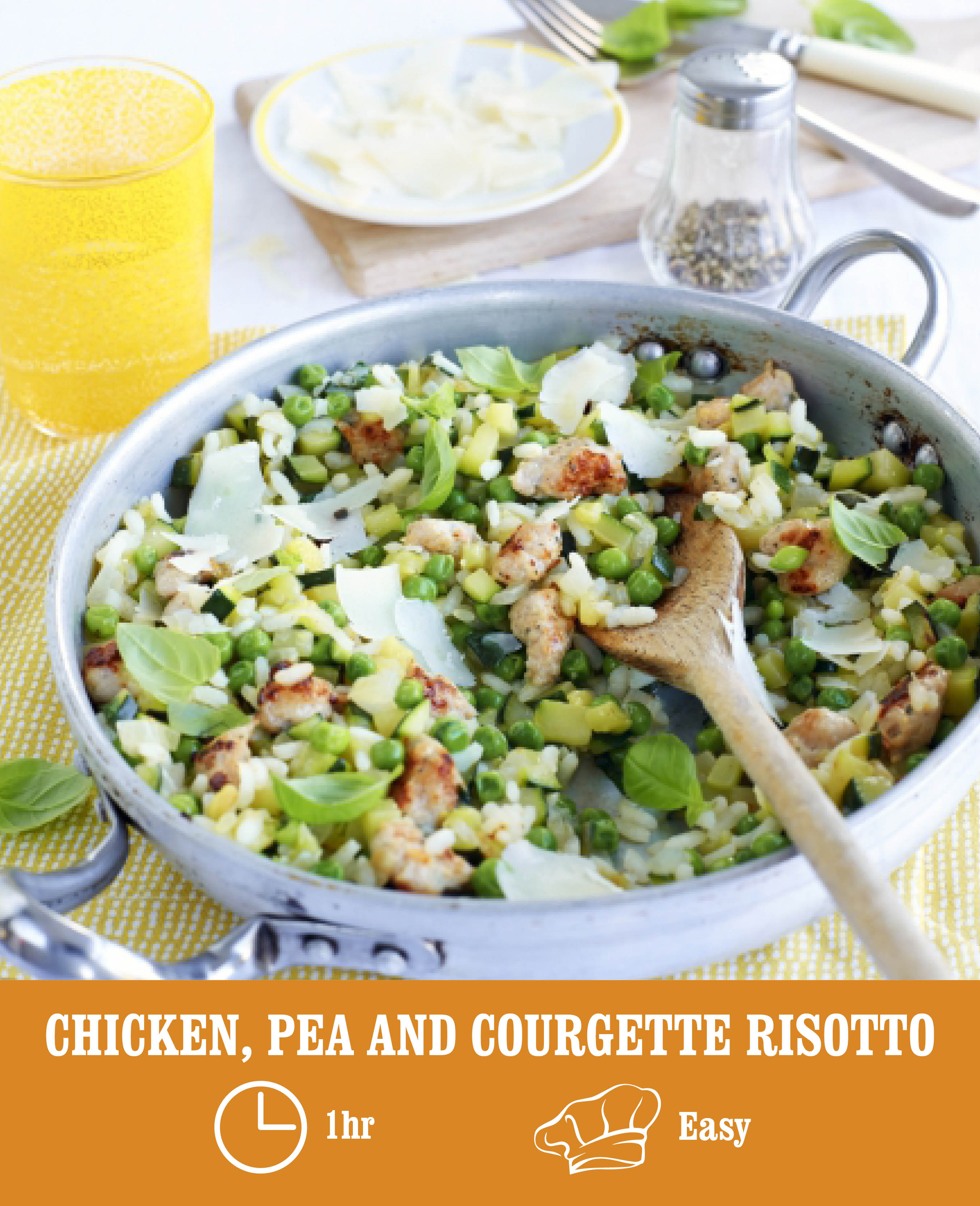 CHICKEN SAUSAGE, PEA AND COURGETTE RISOTTO
