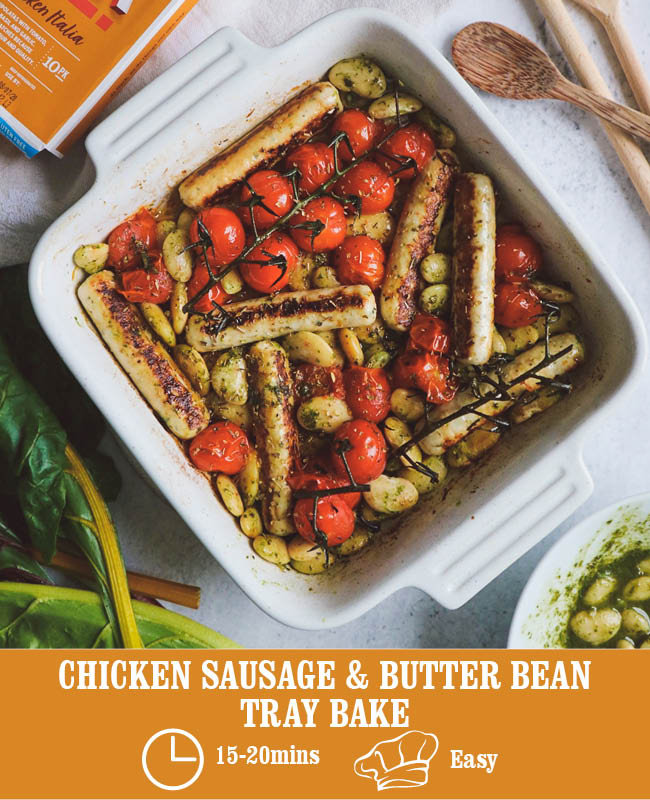 Chicken Sausage & Butter Bean Traybake