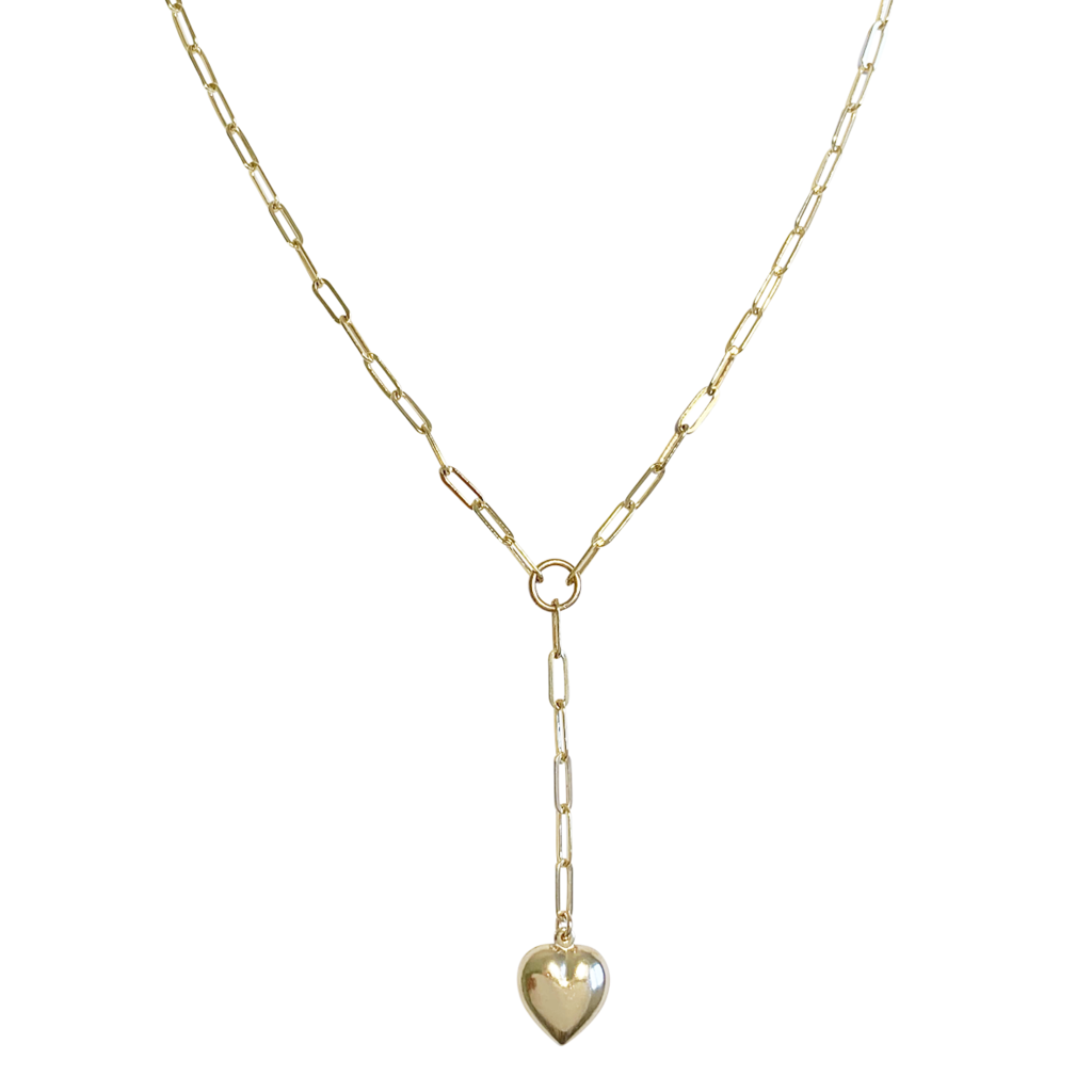Venus Puff Heart Lariet Necklace