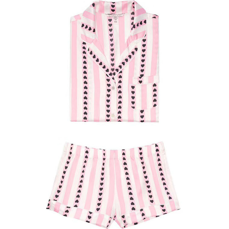 Cute Heart Print Pajamas Shorts Set