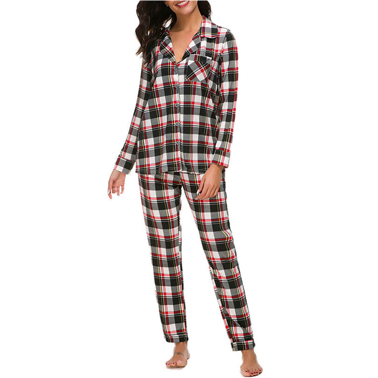 Checkered Printed Long-Sleeve Pajamas Set