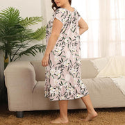 Casual Print Short Sleeves Sleepshirt Plus Size