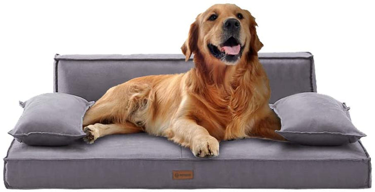 PetBemo Orthopedic Dog Bed Sofa-Style Couch with Memory Foam Removable Suede Cover Pet Bed