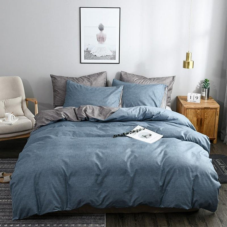 Soft Cotton Solid Colors Home Duvet Cover Set