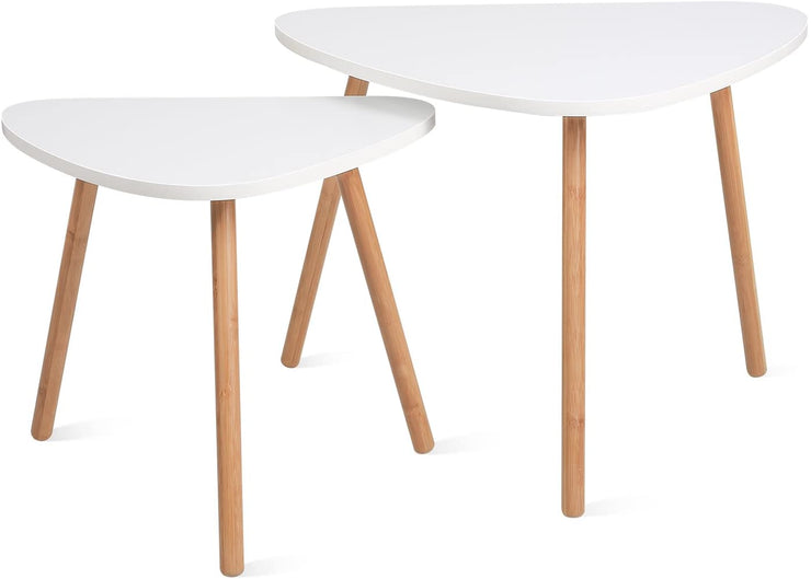 Nesting Coffee End Tables Modern Side Table ( White, Set of 2 )