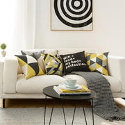 Yellow and Gray Print Pillow Cover