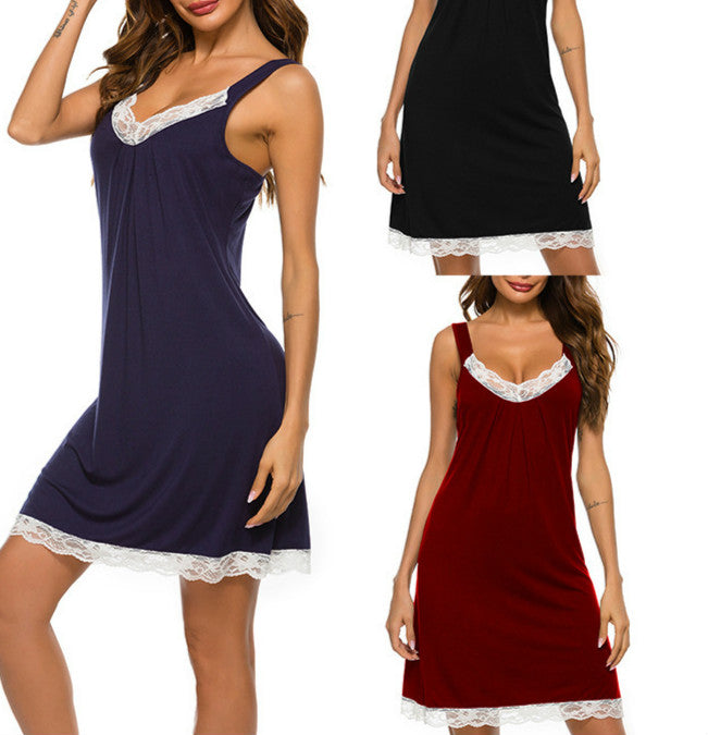 Women's Sleepwear with Lace Trim V Neck