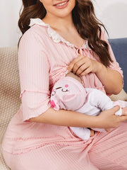 Plus Tie Neck Schiffy Trim Frill Nursing PJ Set- Pink