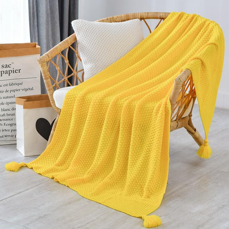 Modern Tassel Knitted Throw Blanket
