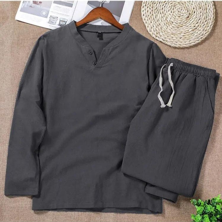 TWO-SIDED Mens Cotton Comfy Soft Solid Color Sleepwear Set