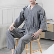 Men Japanese Style Kimono Pajamas Suit Home Bathrobes