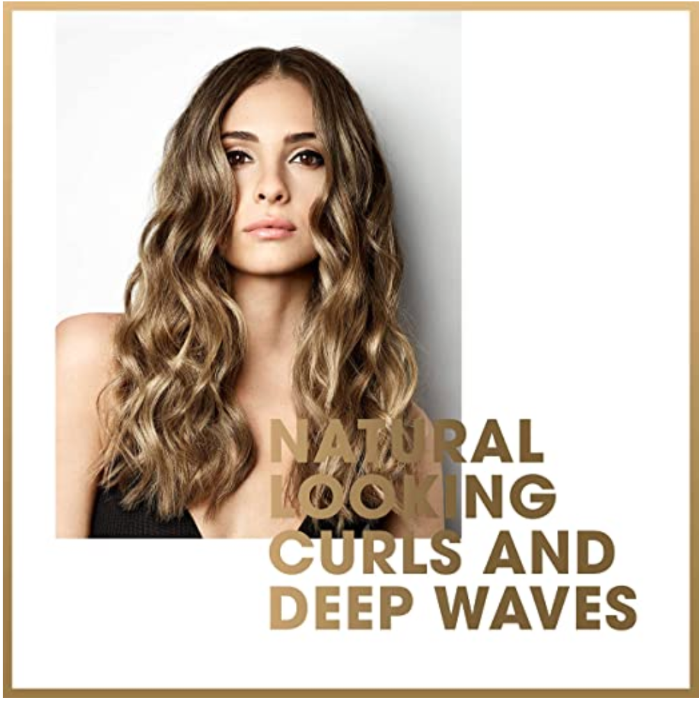 GHD Curve Wand for hair with an image of what the result looks like on a woman with long hair