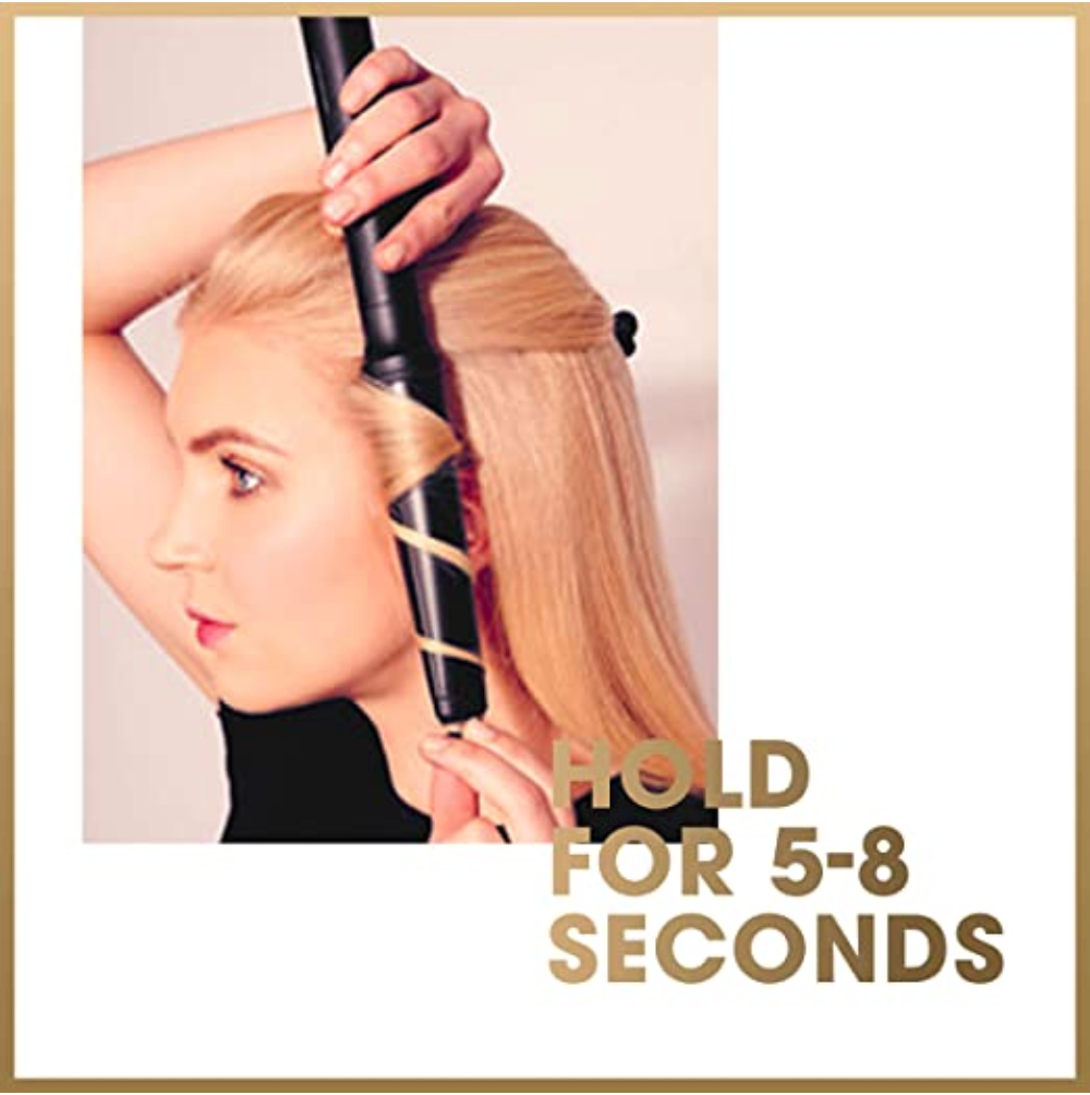 GHD Curve Wand for hair and an image of a woman using it