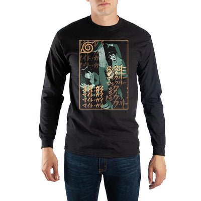 Mens Naruto Anime Cartoon Black Long Sleeve Graphic Tee - Iconic Wars