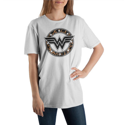 Women's Wonder Woman Superhero Leopard Print White Graphic Tee - Iconic Wars