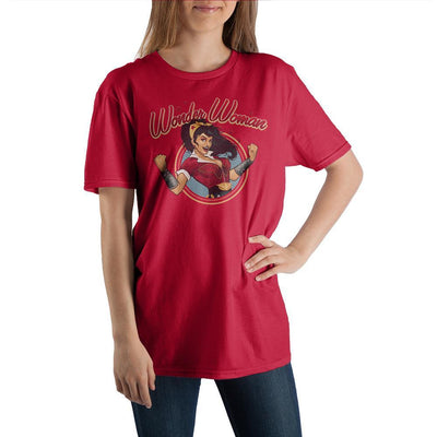 Women's Comic Book Superhero Wonder Woman Red Graphic Tee - Iconic Wars