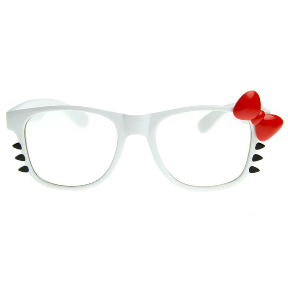 Cute Womens Hello Kitty Bow Clear Lens Glasses With Whiskers 8499 - Iconic Wars