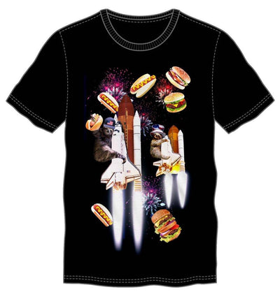 Celebration Sloth Space Shuttle Firework Party With Hamburgers & Hotdogs Men's Black T-Shirt Tee Shirt - Iconic Wars