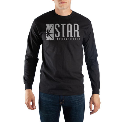 Black Long Sleeve Flash T-Shirt with Star Laboratories Logo - Iconic Wars