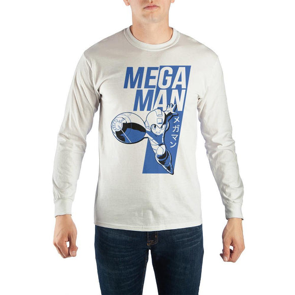 Long Sleeve Mega Man T-Shirt with Japanese Text