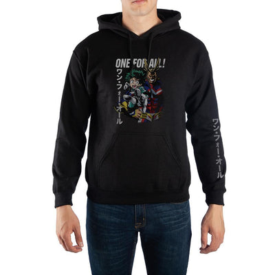 My Hero Academia ?One For All? Kanji Text Pullover Hooded Sweatshirt - Iconic Wars