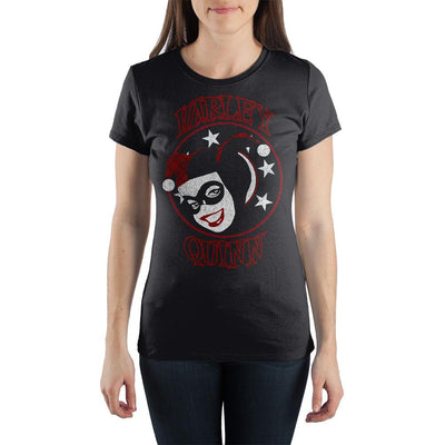 DC Comics Supervillian Harley Quinn Face With Stars Women's Black Tee Shirt T-Shirt - Iconic Wars
