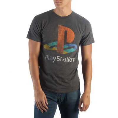 Sony Playstation Logo on Charcoal T-Shirt - Iconic Wars