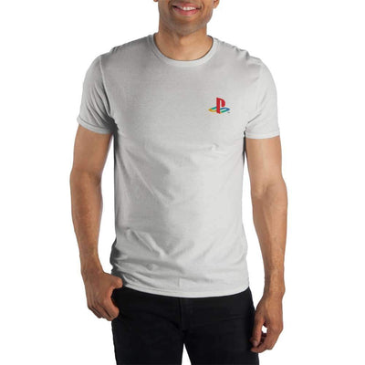 Playstation Logo Speacialty Soft Hand Print Men's White T-Shirt Tee Shirt - Iconic Wars