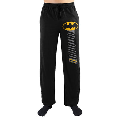 DC Comics Batman Logo Racing Stripe Mens Nightwear Lounge Sleep Pants - Iconic Wars