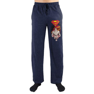 Red Superman Flying Logo Print Men's Sleepwear Lounge Pants - Iconic Wars