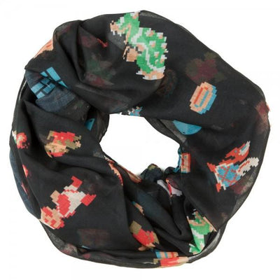 Nintendo Mario 8-Bit All Over Infinity Viscose Scarf - Iconic Wars