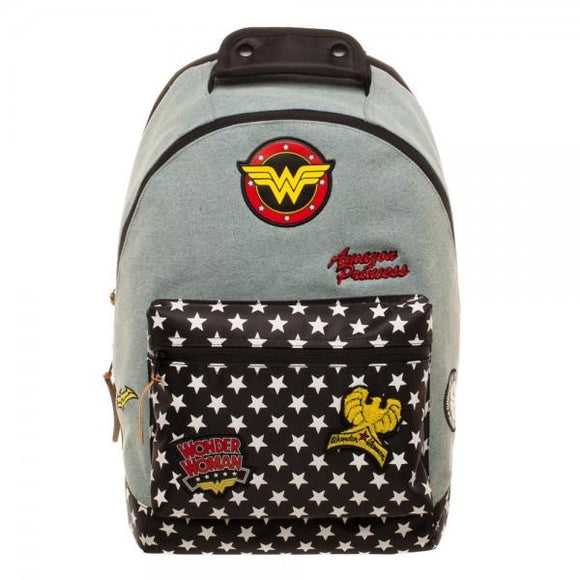 DC Comics Wonder Woman Denim Backpack with Patches - Iconic Wars