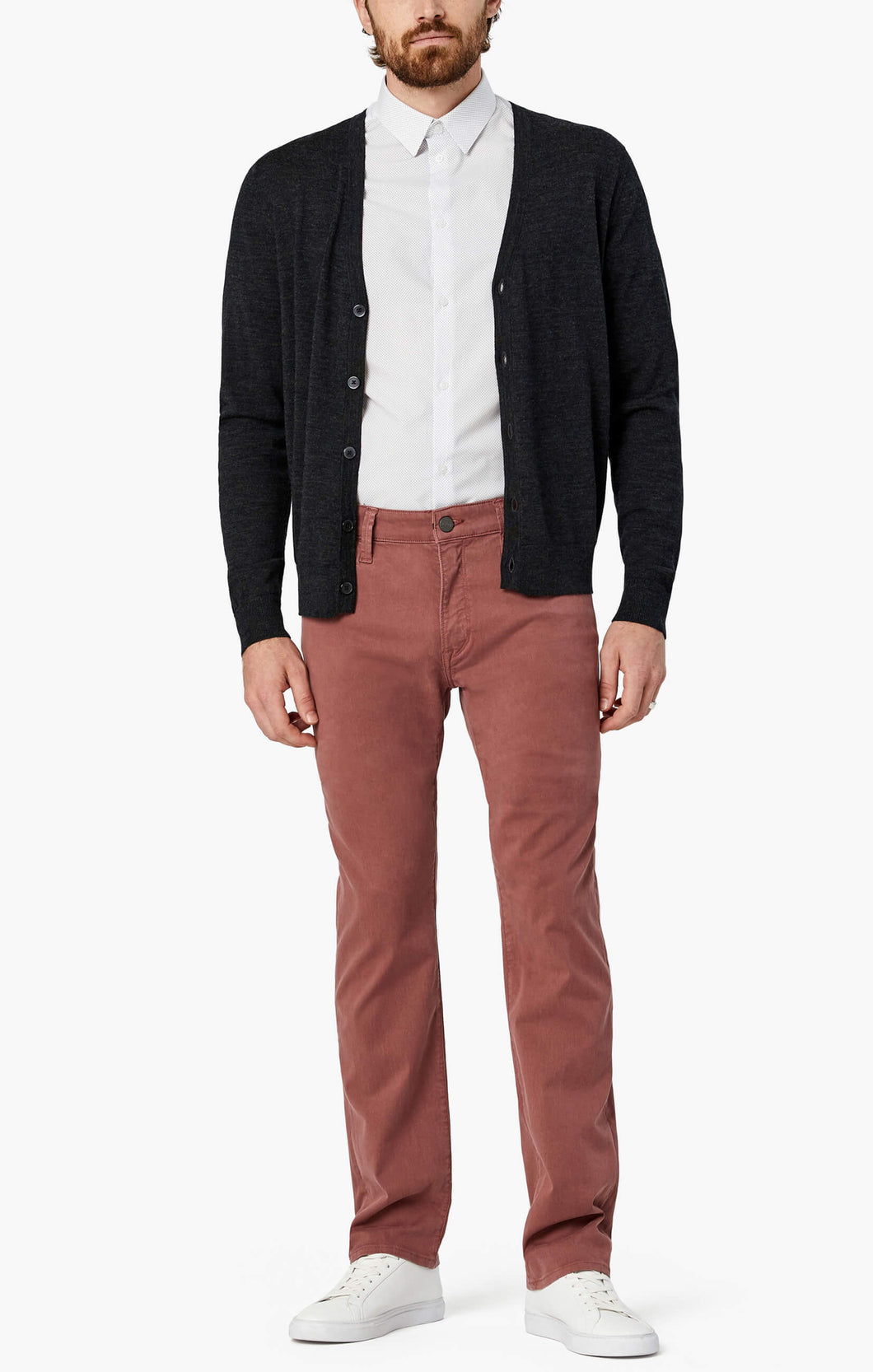 Man is wearing a berry coloured twill pant