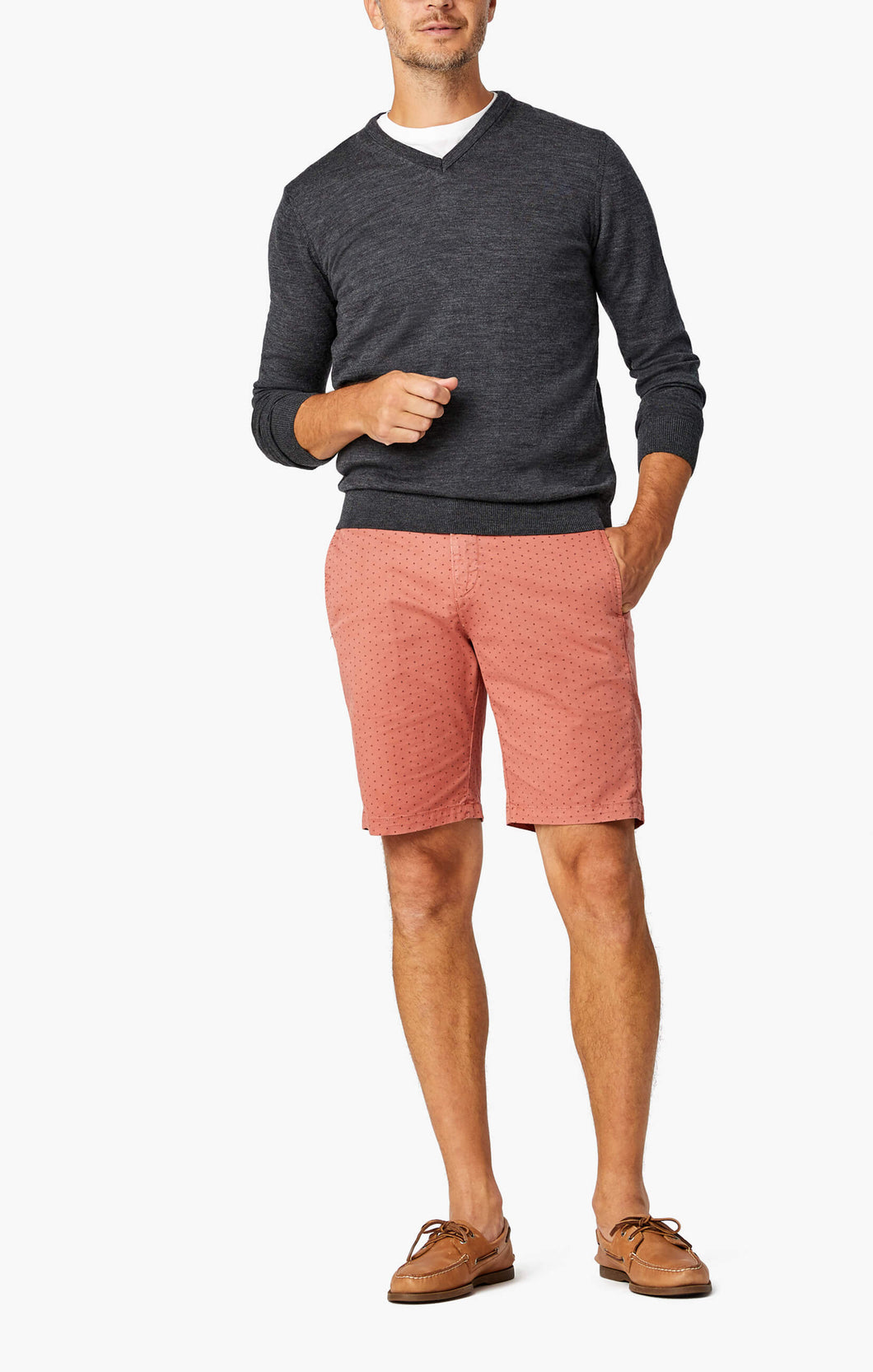 man is wearing cotton shorts in brick colour