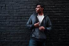 Load image into Gallery viewer, Best dark charcoal zipper hoodie made in Canada