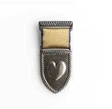 Load image into Gallery viewer, silver heart medal with gold and purple trim ribbon