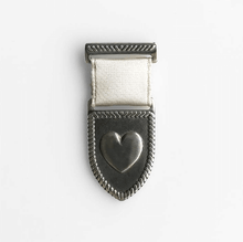Load image into Gallery viewer, Silver heart medal pin with pearl ribbon