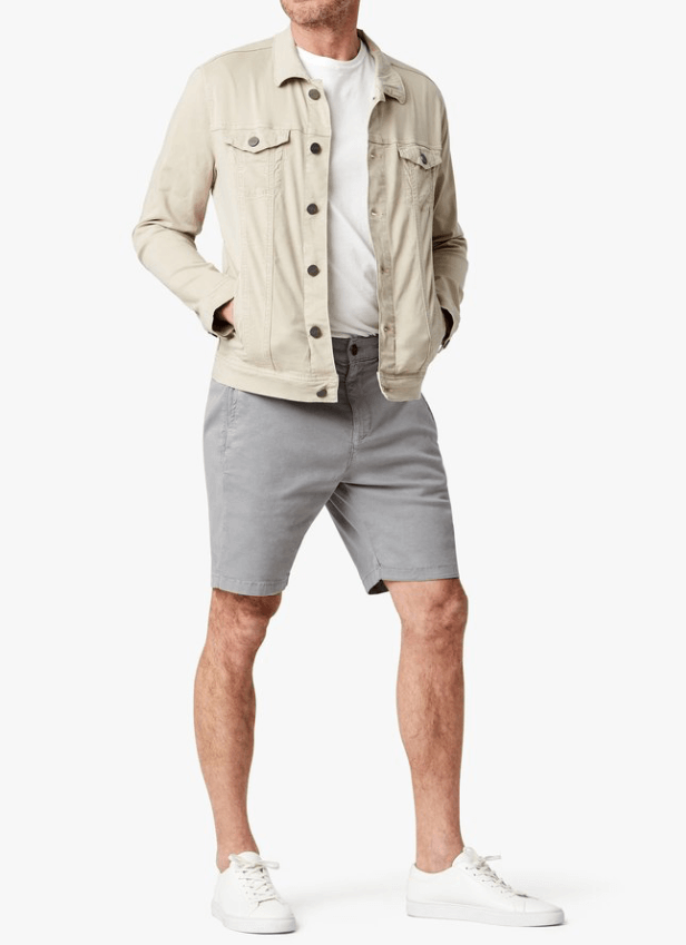 best slim fitting grey cotton shorts for men