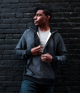 Best dark charcoal zipper hoodie made in Canada