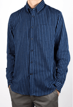 Load image into Gallery viewer, man is wearing a navy/light blue stripped shirt made of Japanese fabric