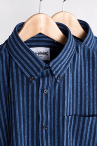 navy and light blue shirts hanging