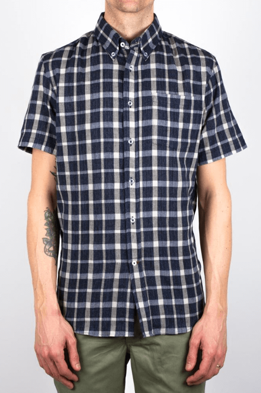 Man is wearing short sleeve plaid navy blue and light blue short sleeve shirt